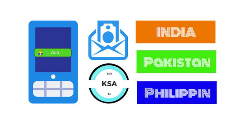 Send balance from Zain KSA to india pakistan philippines