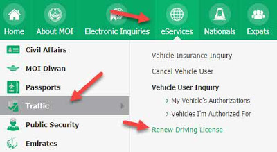 Renewal Saudi Driving License via MOI online