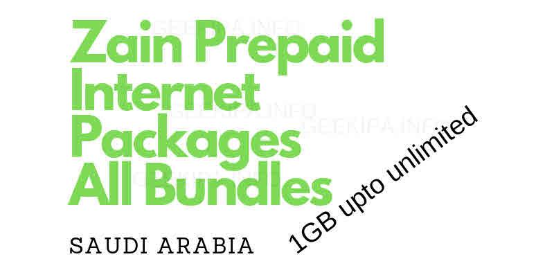 Zain Prepaid Internet Packages
