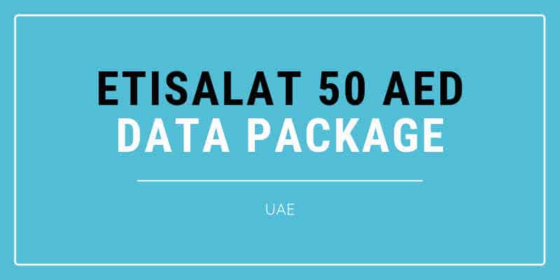 Etisalat 50 AED Data Package