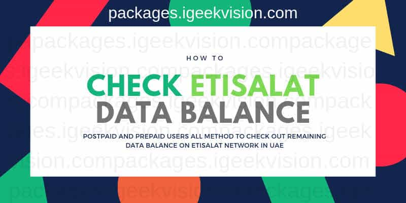 How to Check Etisalat Data Balance Prepaid Postpaid